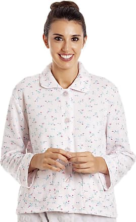 Camille Womens Floral Button Mock Quilt Bed Jacket 10/12 Pink