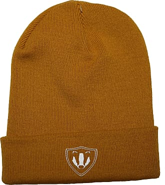 HippoWarehouse Team Badger Embroidered Beanie Hat Mustard