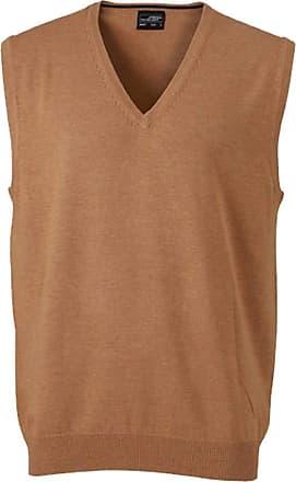James & Nicholson Classical Mens Sleeveless Cotton Sweater - XXX-Large - Camel