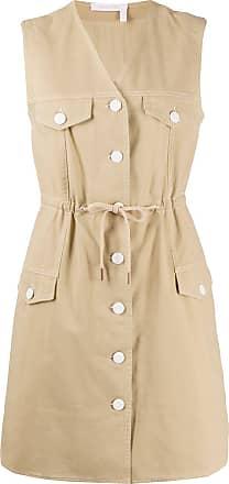 See By Chloé Vestido casual com botões de algodão - Marrom