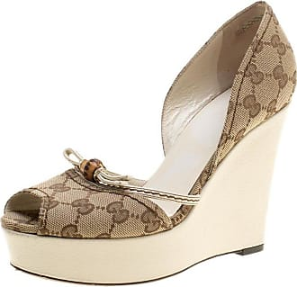 e15d44eac53b Gucci Beige Gg Canvas Bamboo Peep Toe Dorsay Wedge Sandals Size 37.5