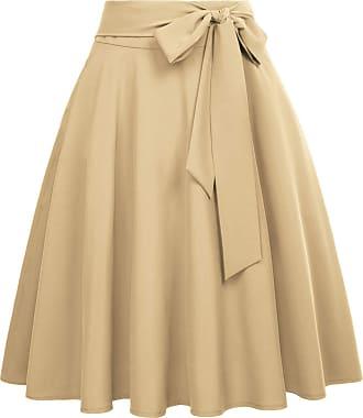 Belle Poque Vintage 1950s Elegant Solid Color High Waist Plain Tea Skirts for Womens Khaki(561-7) X-Large