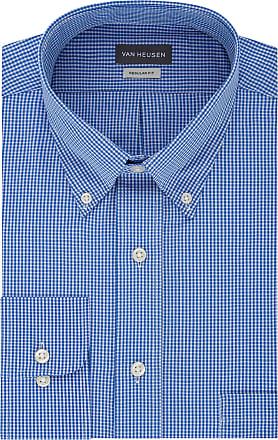 Van Heusen Mens Regular Fit Gingham Button Down Collar Dress Shirt, Periwinkle, Large