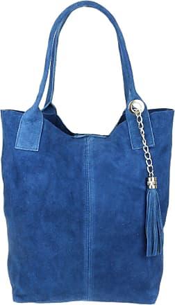 Girly HandBags Girly HandBags Open Top Real Italian Suede Shoulder Bag (Denim)