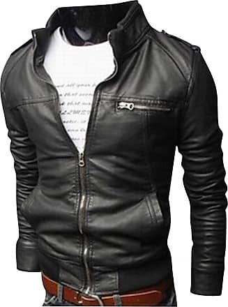 Yonglan Mens Outerwear Slim Type Coat Super Soft PU Leather Zipper Jacket Motorcycle Leather Outerwear Black M