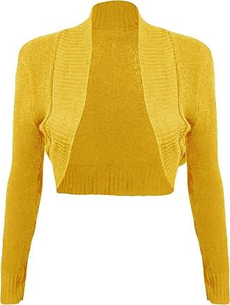 Momo & Ayat Fashions Ladies Girls Knitted Bolero Plain Ribbed Collar Shrug UK Size 8-14 (M/L (UK 12-14), Mustard)