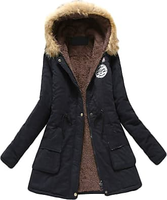 Inlefen Womens Winter Long Sleeve Solid Color Slim fit Coat Retro Warm Zip Hooded Jacket with Pocket Black 3XL