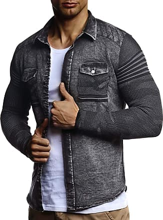LEIF NELSON Men Shirt Jeans Long Sleeve Knit Sleeves LN-3560 Black Small