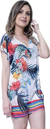 101 Resort Wear Blusa Tunica Decote V Crepe Fenda Lateral Floral (M)
