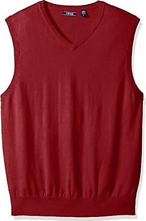 Izod Mens Premium Essentials Solid V-Neck 12 Gauge Sweater Vest, New Biking red, Medium