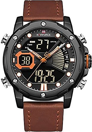 NAVIFORCE Relógio Masculino Naviforce NF9172 BOLBN Pulseira em Couro - Marrom