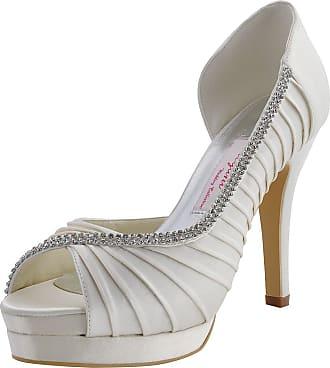 Elegantpark EP11064-IPF Ivory Womens Peep Toe Stiletto High Heel Platform Pumps Satin Rhinestones Bridal Shoes UK 6