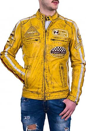 Leather Trend Italy Motociclista Uomo - Giacca in Vera Pelle colore Giallo Tamponato