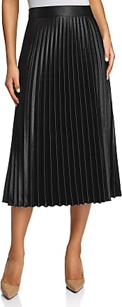 oodji Collection Womens Accordion Pleat Midi Skirt, Black, UK 14 / EU 44 / XL