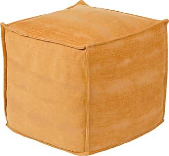 Gering 18 x 18 x 18 Cube Modern 80/% Wool//20/% Cotton//100/% Polybeads//100/% Cotton Cream//Black Pouf