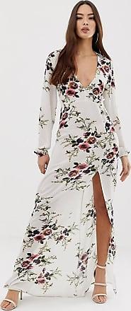 AX PARIS Lange jurk met bloemenprint-Crème