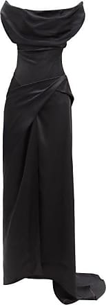 Vivienne Westwood Dione Draped Off-the-shoulder Satin Gown - Womens - Black