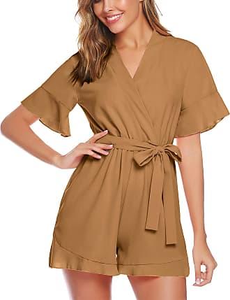 Abollria Playsuits for Women Elegant V-Neck Tie Waist Boho Casual Short Romper Jumpsuit Brown