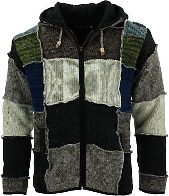 Loud Elephant Wool Knit Patchwork Hooded Jacket - Black (Large)