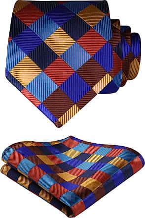 Hisdern Check Wedding Tie Handkerchief Mens Necktie & Pocket Square Set, One Size, Orange / Blue / Brown