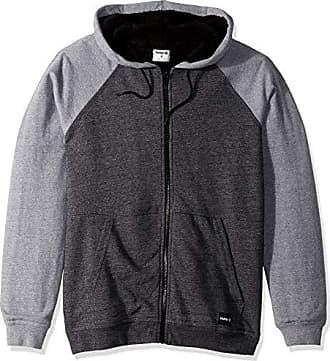 Hurley Mens Long Sleeve Sherpa Lined Zip Up Hoodie, Grey Heather, M
