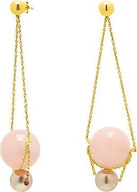 Misaki Boucles doreilles pendantes Louise roses dorées avec perles blanches