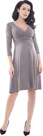 Purpless Maternity Classic Pregnancy Dress Vneck A line D4400 (14, Cappuccino)