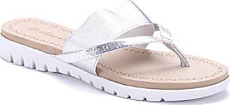 Schuhtempel24 Damen Schuhe Zehentrenner Sandalen Sandaletten Silber flach fce71e0c43