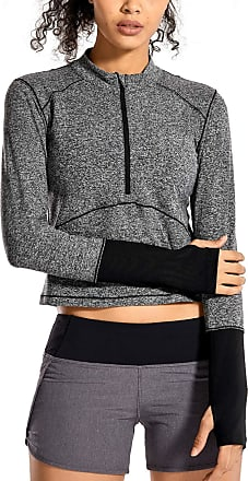 CRZ YOGA Womens Running Shirt Long Sleeve Shirt Dry Fit Half-Zip Workout Tops Crop Athletic Heather Grey 14