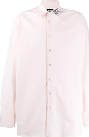 Raf Simons Camisa oversized com bordado no colarinho - Rosa