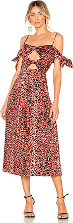 Rebecca Taylor Leopard Bow Dress in Brown