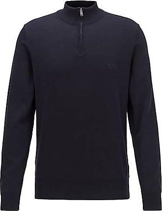 BOSS Pullover aus reiner Baumwolle mit Troyerkragen und Logo-Stickerei