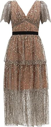 Self Portrait Self-portrait - Tiered Sequinned Tulle Midi Dress - Womens - Silver