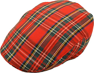 Hawkins Mens Scottish Tartan Flat Cap in 2 Colours & Sizes (Small/Medium, Red Tartan)