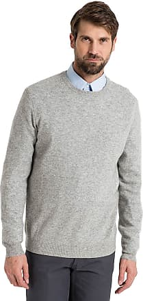 WoolOvers Mens Cashmere and Merino Crew Neck Knitted Jumper Flannel Grey, L