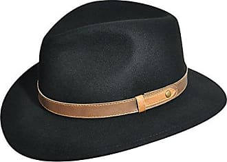 7e7c38c4f26 Country Gentleman Mens Bryson Drop Brim Fedora with Leather Trim, Black, L