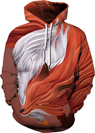 Ocean Plus Mens Hoodie Long Sleeve Pullover Wolf Tiger Hoody with Kangaroo Pocket (XXL/3XL (Chest: 126-146CM), Fox and White Goose)