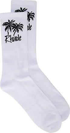 Rhude Par de meias com estampa de palmeiras - Branco
