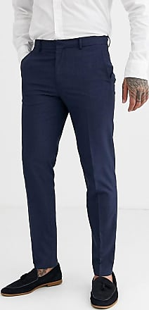 Burton Menswear slim smart trousers in navy & red check