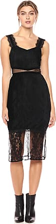 French Connection Womens Strappy Jersey LACE Dress Casual, Black, 10