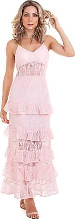 Kinara Vestido de Renda Longo Babados-P