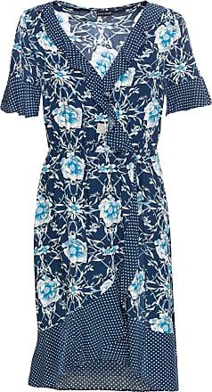 Bodyflirt Dam Blommönstrad klänning i blå kort ärm - BODYFLIRT 4702d699cae8c