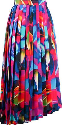 Msgm printed pleated asymmetric skirt - Blue