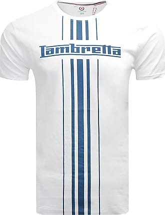 Lambretta Mens Classic Stripe Mod Ska Scooter Casual Tee T-Shirt 3XL White