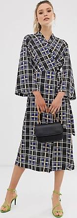 Closet Closet - Vestito a portafoglio con maniche a campana-Nero