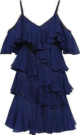 Philosophy di Lorenzo Serafini Philosophy Di Lorenzo Serafini Woman Cold-shoulder Embroidered Tulle-paneled Tiered Polka-dot Silk-chiffon Mini Dress Navy Size 42