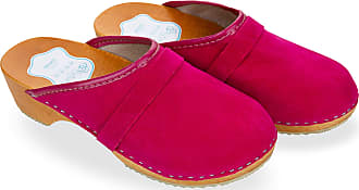 FUTURO FASHION Womens Suede Clogs 100% Natural Leather Hand Made Shoes Wooden Sole 3-8 UK D1 Pink