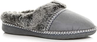 Ajvani Womens Ladies Flat Low Heel Winter Fur Lined Mules Slippers Size 6 39