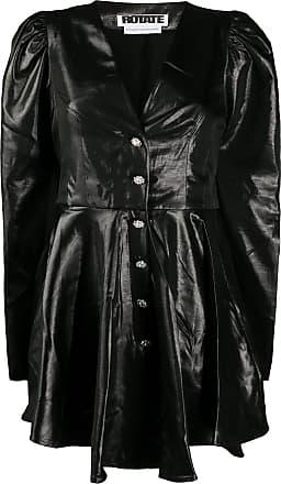 Rotate Vestido em lamé com abotoamento - Preto