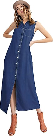 Anna Kaci Classic Sleeveless Blue Jean Button Down Denim Pocket Collar Shirt Dress, Dark Blue Denim, Small